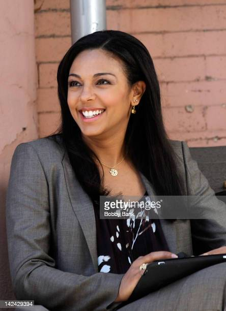 Actor Marsha Thomason seen on location for White Collar on the streets of Manhattan on April 4 2012 in New York City