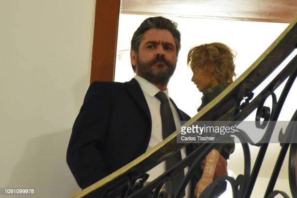 Actor Martin Altomaro gestures during the filming of the movie 'Mama se fue de viaje' at Circulo Cubano de Mexico on January 7 2019 in Mexico City...