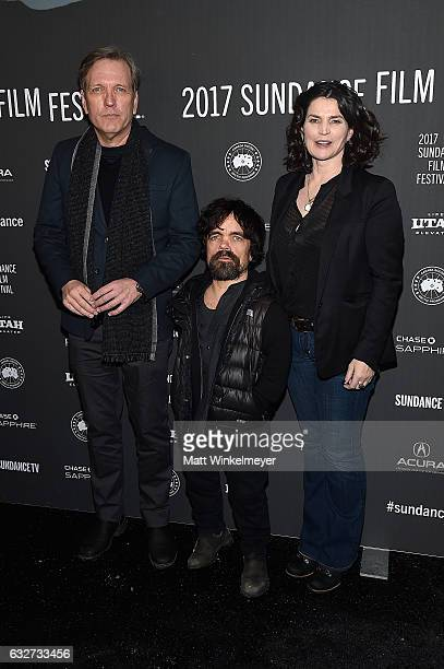 Actor Martin Donovan actor Peter Dinklage and actress Julia Ormond attend the Rememory Premiere on day 7 of the 2017 Sundance Film Festival at...