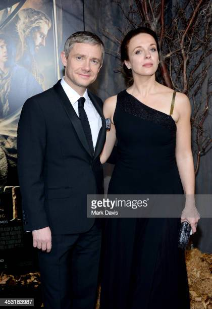 Actor Martin Freeman and Amanda Abbington attend the premiere of Warner Bros' The Hobbit The Desolation Of Smaug at TCL Chinese Theatre on December 2...