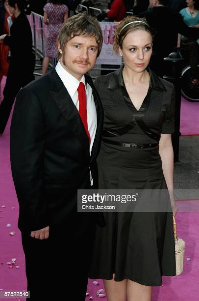 Actor Martin Freeman and guest Amanda Abbington arrive for the premiere of the film Confetti at Vue Leicester Square on May 3 2006 in London England
