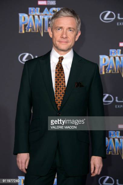 Actor Martin Freeman attends the world premiere of Marvel Studios Black Panther, on January 29 in Hollywood, California. / AFP PHOTO / VALERIE MACON