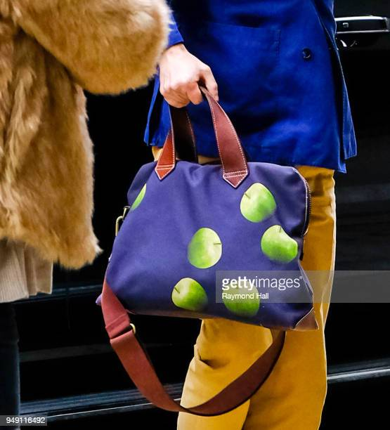 Actor Martin Freeman bag detail is seen walking in Soho on April 20 2018 in New York City