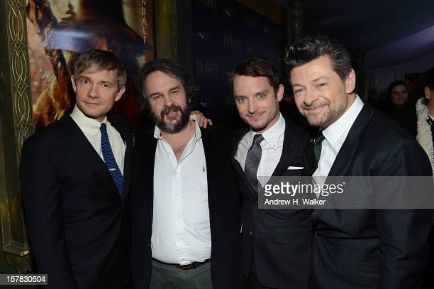 Actor Martin Freeman filmmaker Peter Jackson and actors Elijah Wood and Andy Serkis attend The Hobbit An Unexpected Journey New York Premiere...