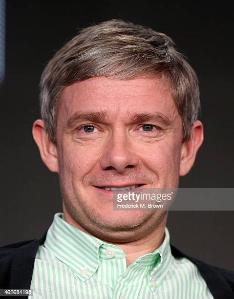Actor Martin Freeman of the television show 'Fargo' speaks onstage during the FX portion of the 2014 Television Critics Association Press Tour at the...