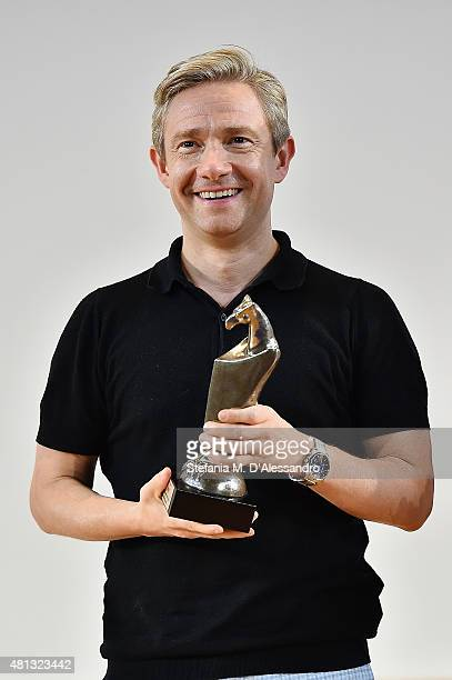 Actor Martin Freeman poses with the Giffoni Experience Award during Giffoni Film Festival 2015 on July 19 2015 in Giffoni Valle Piana Italy