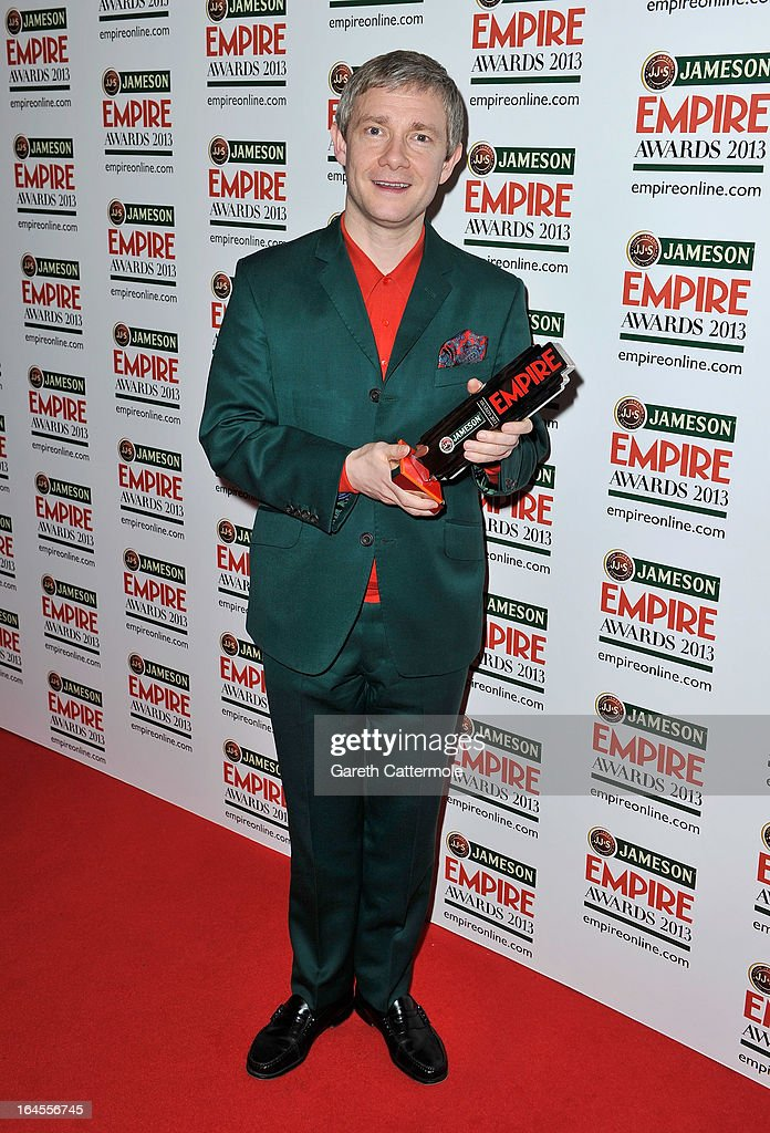 Actor Martin Freeman with the Jameson Best Actor award at the Jameson Empire Awards 2013 at Grosvenor House on March 24, 2013 in London, England.