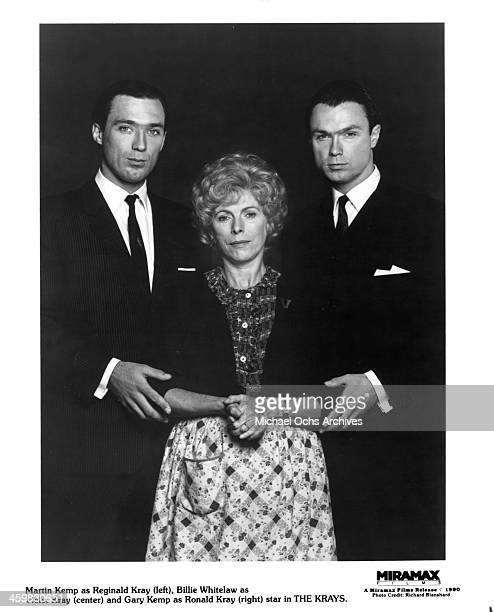 Actor Martin Kemp actress Billie Whitelaw and actor Gary Kemp pose on set of the Miramax movie The Krays circa 1990