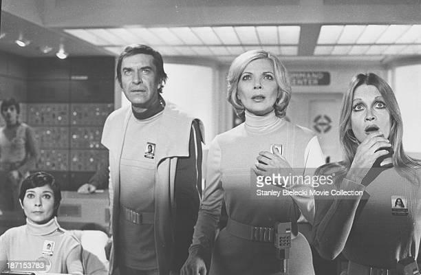 Actor Martin Landau and Barbara Bain in a scene from the TV series 'Space 1999' circa 19751977