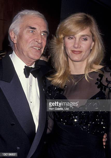 Actor Martin Landau and Gretchen Becker attend 50th Anniversary Party for Charlton and Lydia Heston on March 18 1994 at Nikko Hotel in Beverly Hills...