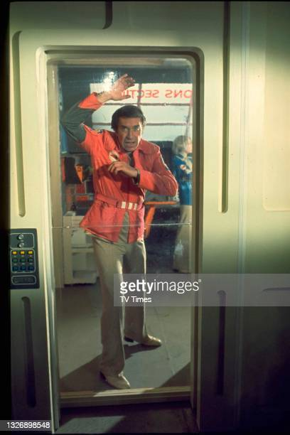Actor Martin Landau in character as Commander John Koenig on the set of science fiction series Space 1999, circa 1975.