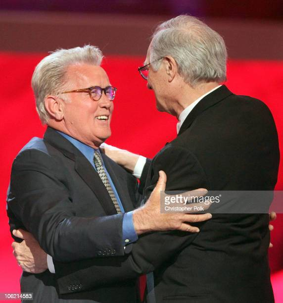 Actor Martin Sheen greets actor Alan Alda of MASH onstage during the 7th Annual TV Land Awards held at Gibson Amphitheatre on April 19 2009 in...