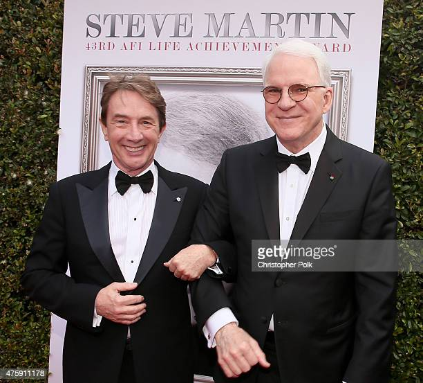 Actor Martin Short and honoree Steve Martin attend the 2015 AFI Life Achievement Award Gala Tribute Honoring Steve Martin at the Dolby Theatre on...