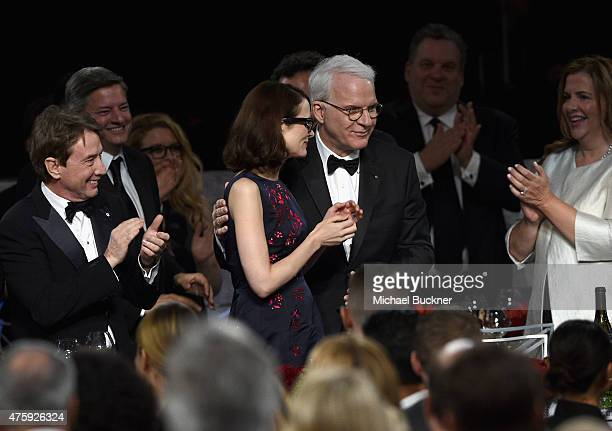 Actor Martin Short Anne Stringfield and honoree Steve Martin attend the 2015 AFI Life Achievement Award Gala Tribute Honoring Steve Martin at the...
