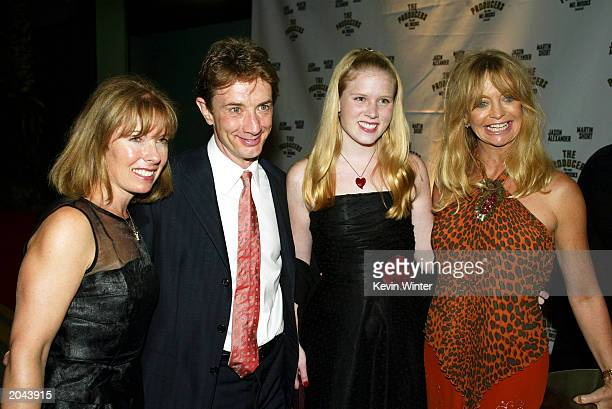 Actor Martin Short his wife Nancy and daughter Katherine pose with actress Goldie Hawn at the afterparty for The Producers at the Hollywood Palladium...