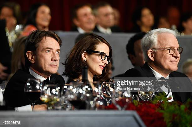 Actor Martin Short writer Anne Stringfield and honoree Steve Martin attend the 43rd AFI Life Achievement Award Gala honoring Steve Martin at Dolby...