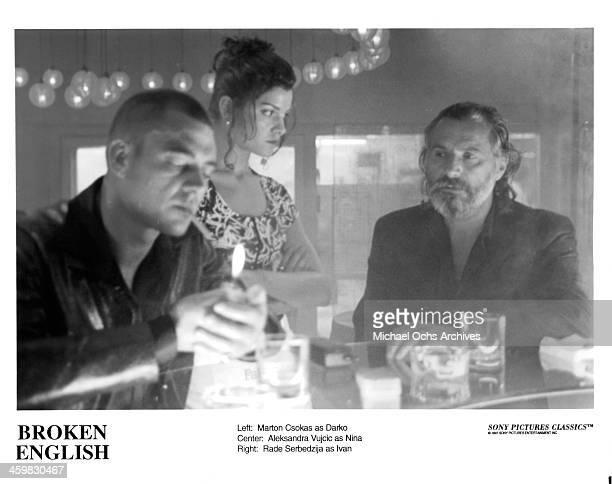 "Actor Marton Csokas, Aleksandra Vujcic and Rade Serbedzija on set of the movie ""Broken English "" , circa 1996."
