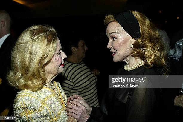 Actor Mary Carlisle and Kathryn Crosby attend the Centennial Tribute to Bing Crosby at the Academy of Motion Picture Arts and Sciences on November 21...