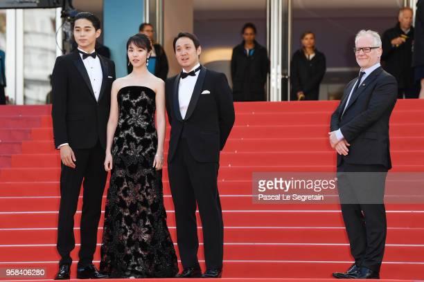 Actor Masahiro Higashide actress Erika Karata director Ryusuke Hamaguchi Cannes Film Festival Director Thierry Fremaux attend the screening of Asako...