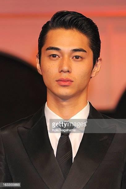Actor Masahiro Higashide poses during the 36th Japan Academy Prize Award Ceremony at Grand Prince Hotel Shin Takanawa on March 8 2013 in Tokyo Japan