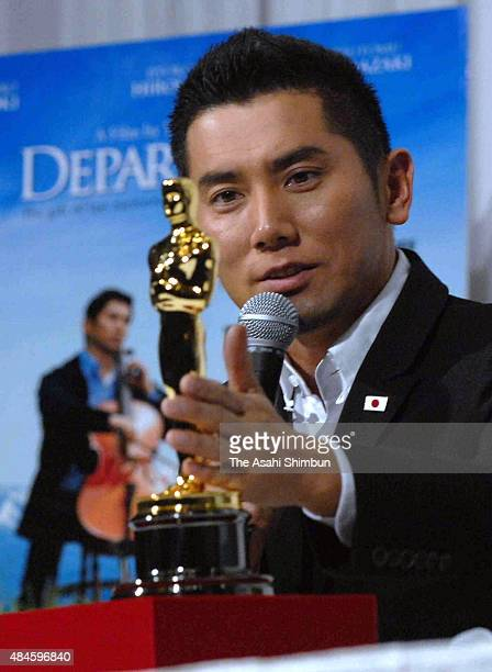 Actor Masahiro Motoki attends a press conference after the Departure winning the Academy Award for Best Foreign Language Film on February 28 2009 in...