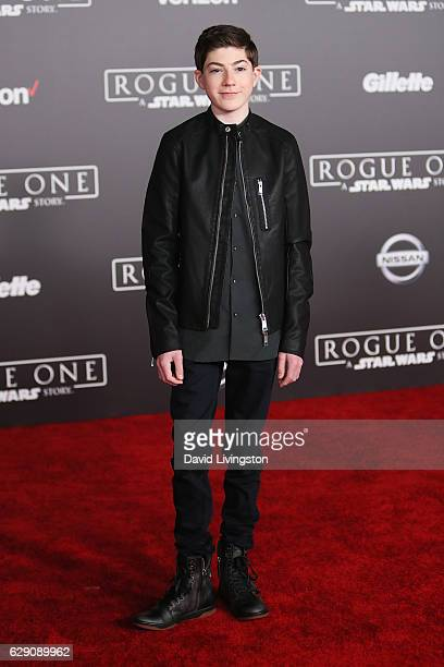 Actor Mason Cook arrives at the premiere of Walt Disney Pictures and Lucasfilm's Rogue One A Star Wars Story at the Pantages Theatre on December 10...