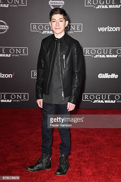 Actor Mason Cook attends the premiere of Walt Disney Pictures and Lucasfilm's Rogue One A Star Wars Story at the Pantages Theatre on December 10 2016...