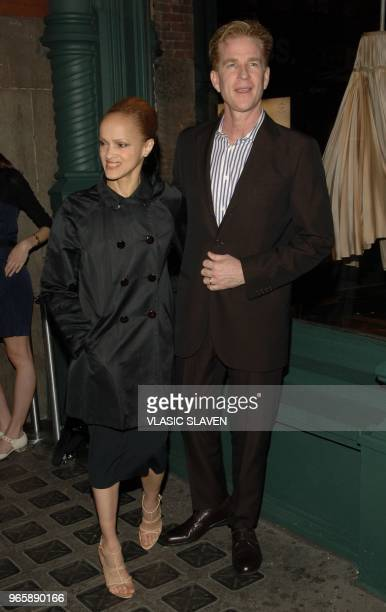 Actor Mathew Modine and wife Caridad Rivera arrive at Waist Down Skirts by Miuccia Prada Prada's unique exhibition opening with party at Soho...