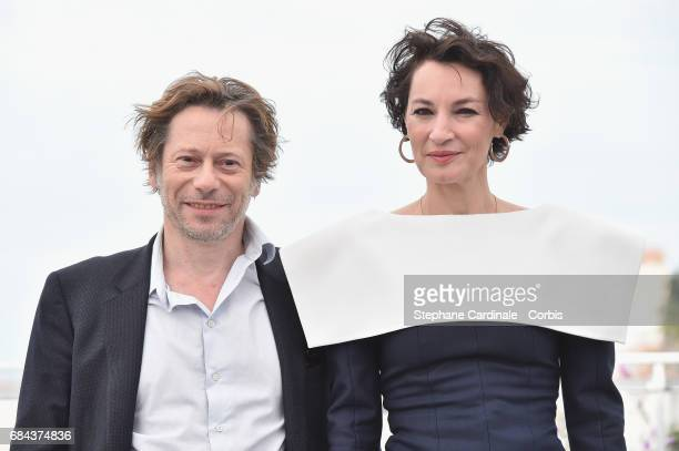 Actor Mathieu Amalric and actress Jeanne Balibar attend the 'Barbara' screening during the 70th annual Cannes Film Festival at Salle Debussy on May...