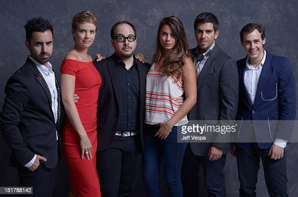 Actor Matias Lopez actress Andrea Osvart director Nicolás López actress Lorenza Izzo actor Eli Roth and actor Ariel Levy of Aftershock pose at the...