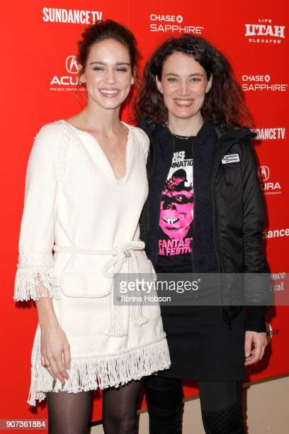 Actor Matilda Anna Ingrid Lutz and director Coralie Fargeat attend the Revenge Premiere during the 2018 Sundance Film Festival at Egyptian Theatre on...