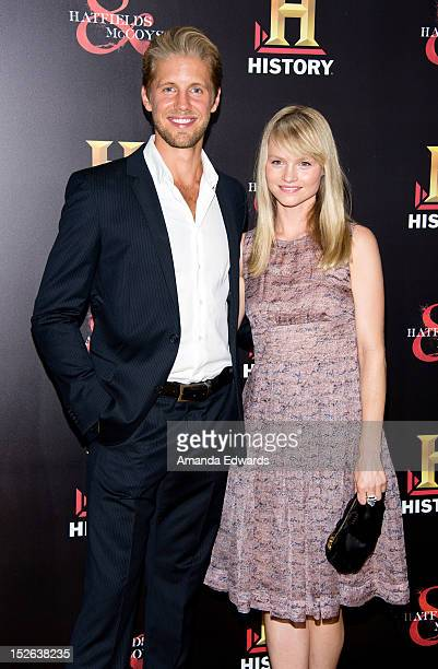 Actor Matt Barr and actress Lindsay Pulsipher arrive at the History Channel PreEmmy Party at Soho House on September 22 2012 in West Hollywood...