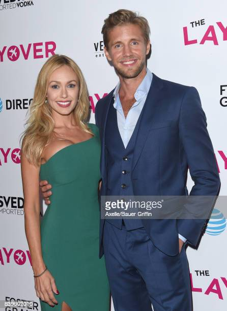 Actor Matt Barr and Kelly Turner arrive at the Los Angeles Premiere of 'The Layover' at ArcLight Hollywood on August 23 2017 in Hollywood California