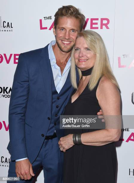 Actor Matt Barr and mom DeDe Barr arrive at the Los Angeles Premiere of 'The Layover' at ArcLight Hollywood on August 23 2017 in Hollywood California