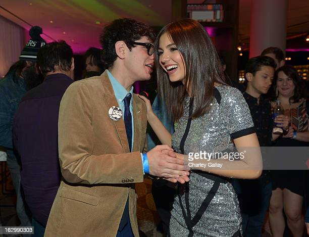 Actor Matt Benett and actress Victoria Justice attend her 20th birthday celebration hosted by vitaminwater and TWISTER Rave at RH Bar at the Andaz...