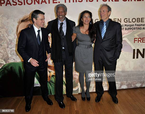 Actor Matt Damon actor Morgan Freeman Dina Ruiz and director Clint Eastwood attend the Invictus film premiere at the Odeon West End on January 31...