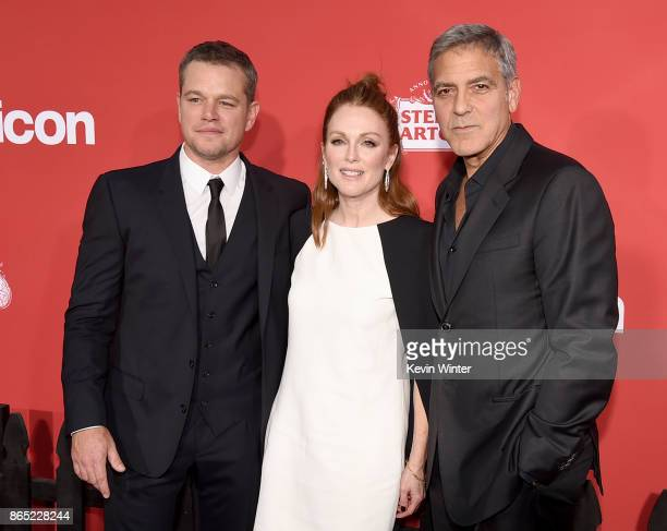 Actor Matt Damon actress Julianne Moore and executive producer/director George Clooney arrive at the premiere of Paramount Pictures' 'Suburbicon' at...