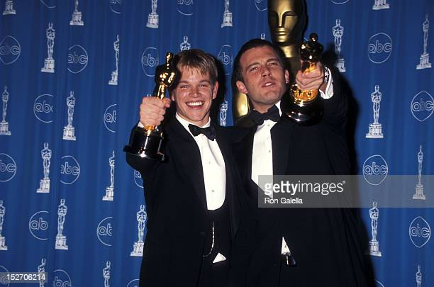 Actor Matt Damon and actor Ben Affleck attend the 70th Annual Academy Awards on March 23, 1998 at Shrine Auditorium in Los Angeles, California.