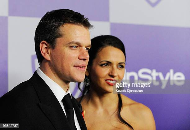 Actor Matt Damon and actress Luciana Damon arrives at the InStyle and Warner Bros 67th Annual Golden Globes after party held at the Oasis Courtyard...