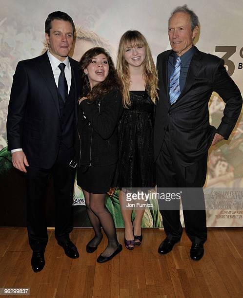 Actor Matt Damon and director Clint Eastwood with his daughters Morgan and Francesca attend the Invictus film premiere at the Odeon West End on...