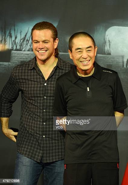 Actor Matt Damon and director Zhang Yimou attend 'The Great Wall' press conference at Park Hyatt Hotel on July 2 2015 in Beijing China
