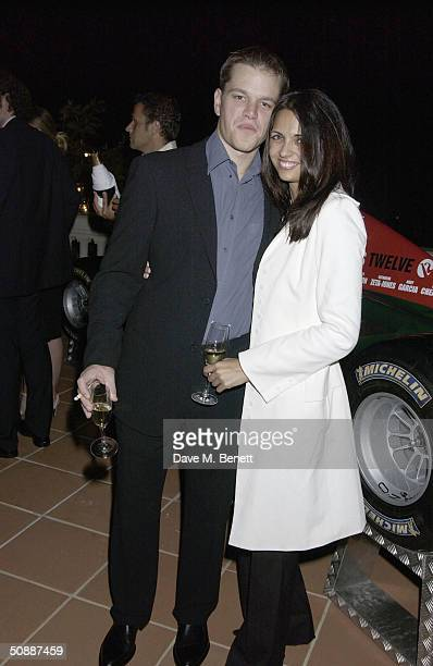 Actor Matt Damon and gal pal Luciana Barroso the official guest of Jaguar Racing attend 'Oceans 12' dinner at Karl Largerfeld's villa May 21, 2004 in...