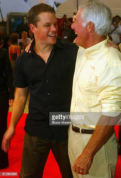 Actor Matt Damon and his father attend the The Bourne Supremacy premiere at the 30th Deauville American Film Festival on September 5 2004 in...
