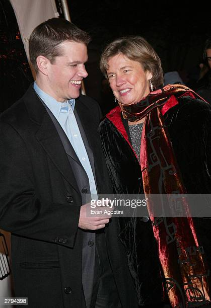 """Actor Matt Damon and his mother arrive at the 20th Century Fox film premiere of """"Stuck On You"""" December 8, 2003 in New York City."""