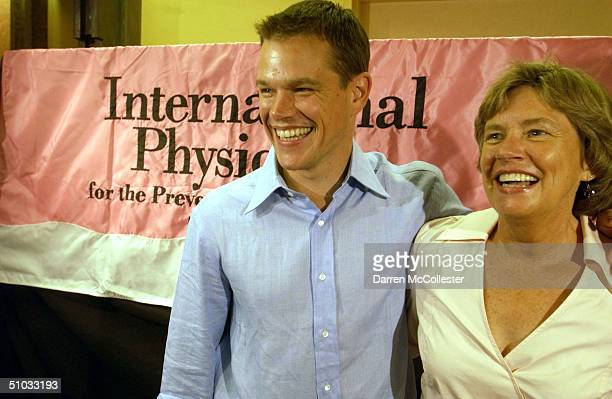 Actor Matt Damon and his mother Nancy Carlsson Paige attend the premiere of his new movie The Bourne Supremacy July 7 2004 at the Loews Boston Common...