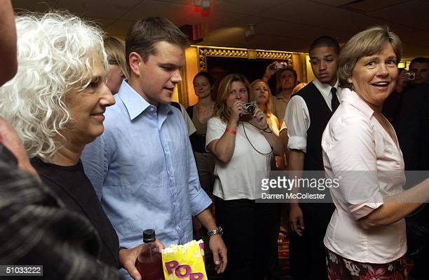 """Actor Matt Damon and his mother Nancy Carlsson Paige attend the premiere of his new movie """"The Bourne Supremacy"""" July 7, 2004 at the Loews Boston..."""