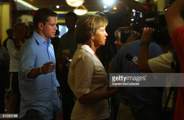 """Actor Matt Damon and his mother Nancy Carlsson Paige speak to the press at the premiere of his new movie """"The Bourne Supremacy"""" July 7, 2004 at the..."""