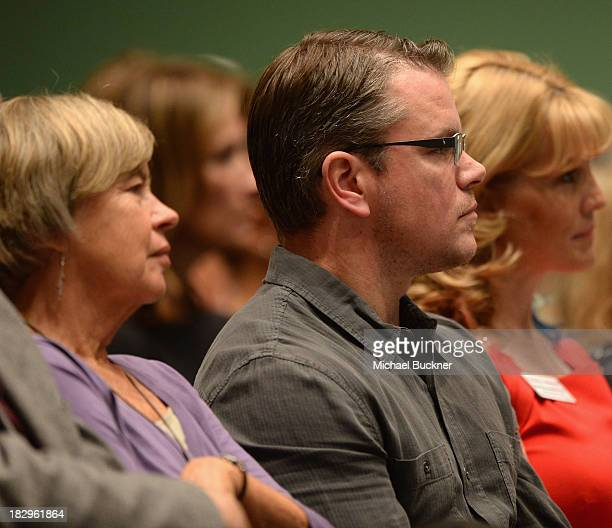 Actor Matt Damon and his mother Nancy Carlsson-Paige listen to Former U.S. Assistant Secretary Of Education Diane Ravitch as part of the Education on...