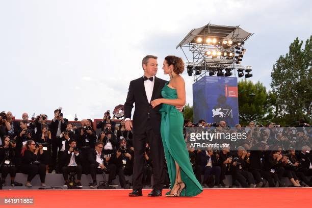 US actor Matt Damon and his wife Luciana attend the premiere of the movie 'Suburbicon' presented out of competition at the 74th Venice Film Festival...