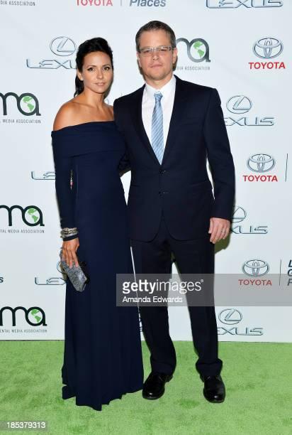 Actor Matt Damon and his wife Luciana Damon arrive at the 2013 Environmental Media Awards at Warner Bros Studios on October 19 2013 in Burbank...